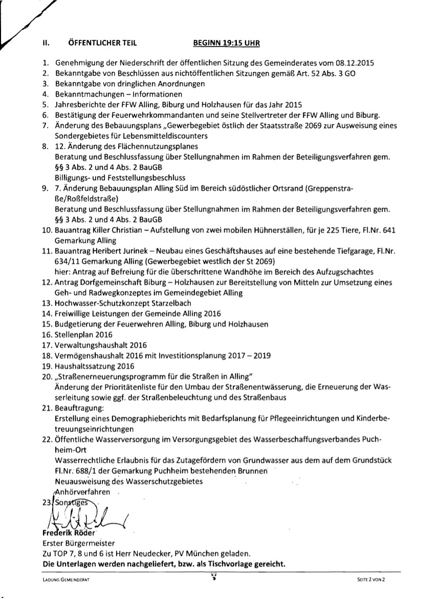 Gemeinderatsitzung 26.01.2016